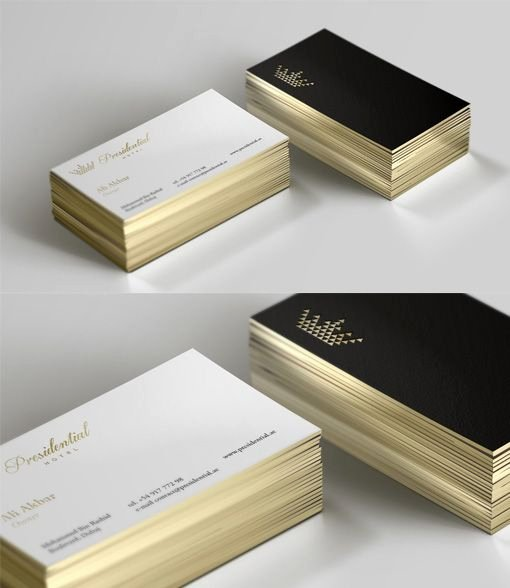 Black and Gold Business Cards Awesome Sleek Black and White Gold Edged Business Card for A Luxury Hotel … Business Cards