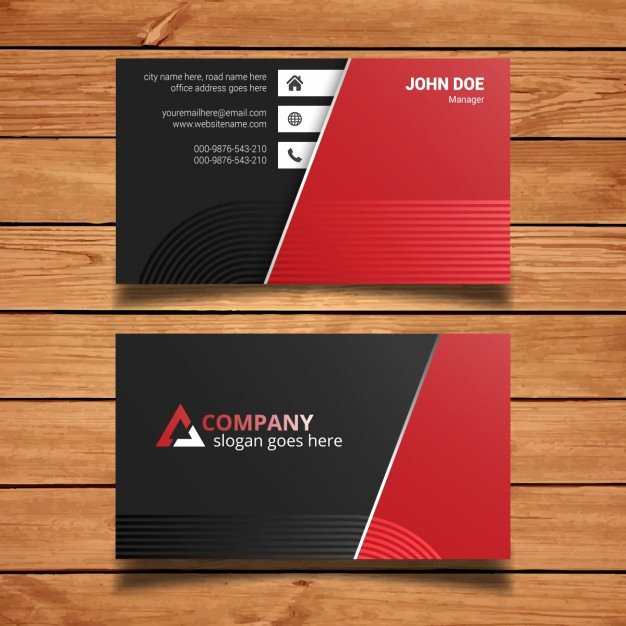 Black and Red Business Cards Awesome Red and Black Business Card Template Vector