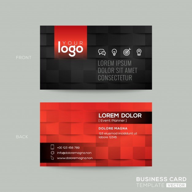 Black and Red Business Cards Elegant Black and Red Business Card Vector