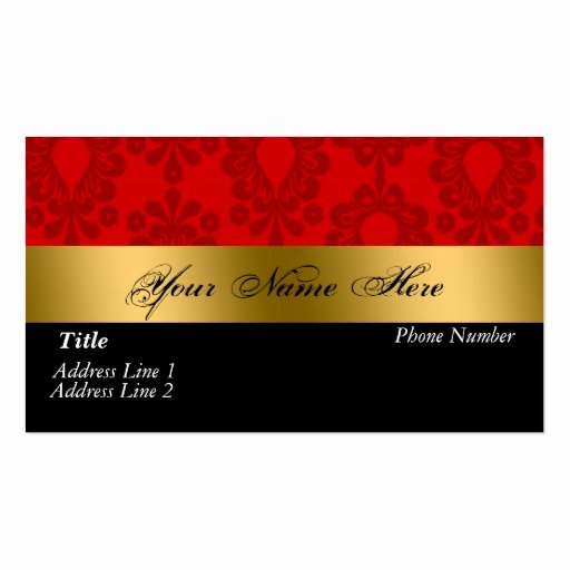 Black and Red Business Cards Fresh Black Red Gold Damask Business Card