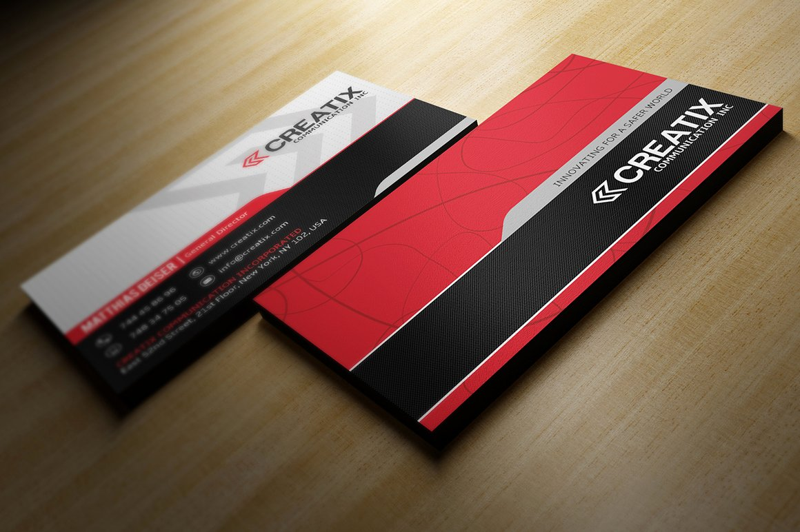 Black and Red Business Cards Lovely Red and Black Buisness Card Business Card Templates On Creative Market