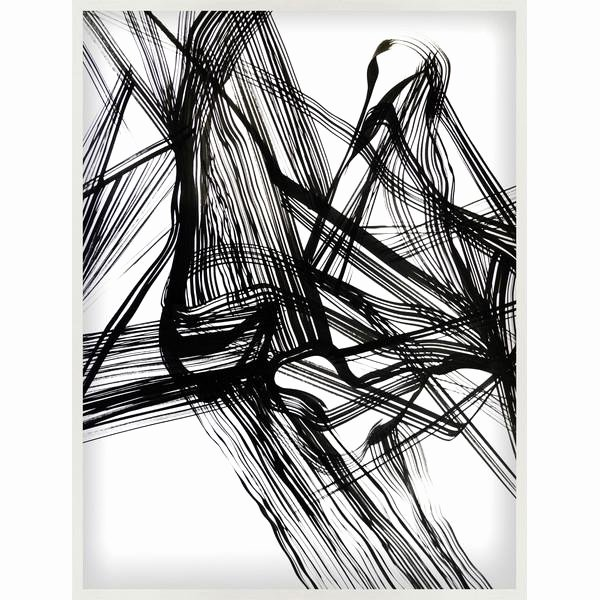 Black and White Abstract Artwork Luxury Black River 4 by Ron Santos Framed Graphic Art