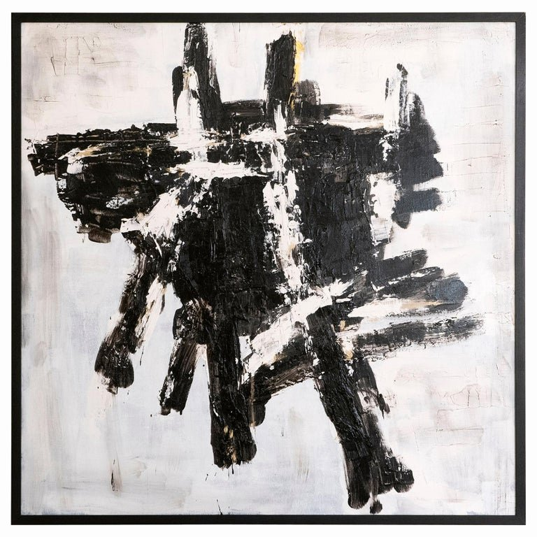 "Black and White Abstract Painting Beautiful Marco Croce ""untitled"" Black and White Abstract Painting On Wood Italy 2018 for Sale at 1stdibs"