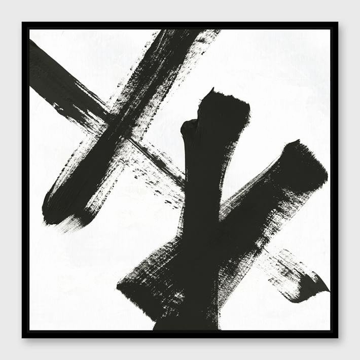 Black and White Abstract Painting Fresh Framed Black White Abstract Strokes Canvas