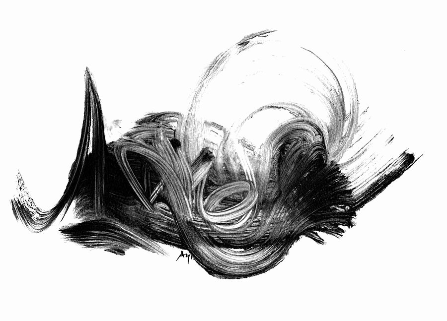 Black and White Abstract Painting Unique Black and White Abstract Art Print by Paul Maguire Art