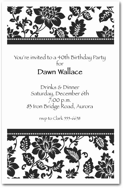 Black and White Birthday Invitations Awesome Black Damask Birthday Invitations