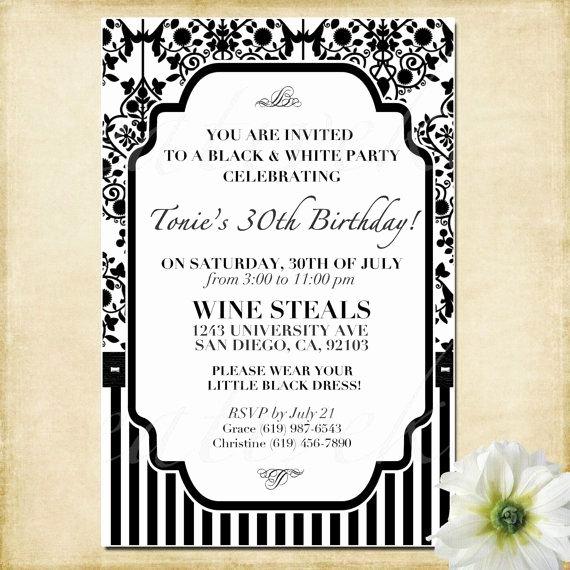 Black and White Birthday Invitations Beautiful Customizable Black and White Party Invitation by Kreativekits $10 00