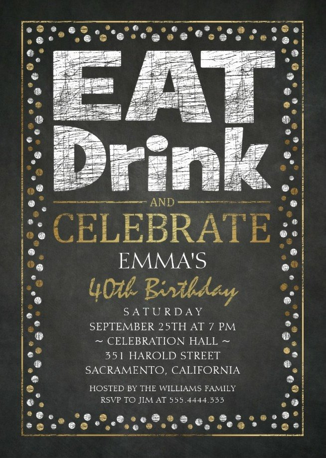 Black and White Birthday Invitations Fresh Elegant Adult 40th Birthday Party Invitations Cool Black White Gold Invite Templates