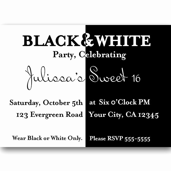 Black and White Birthday Invitations Fresh Quotes Black and White Party Quotesgram