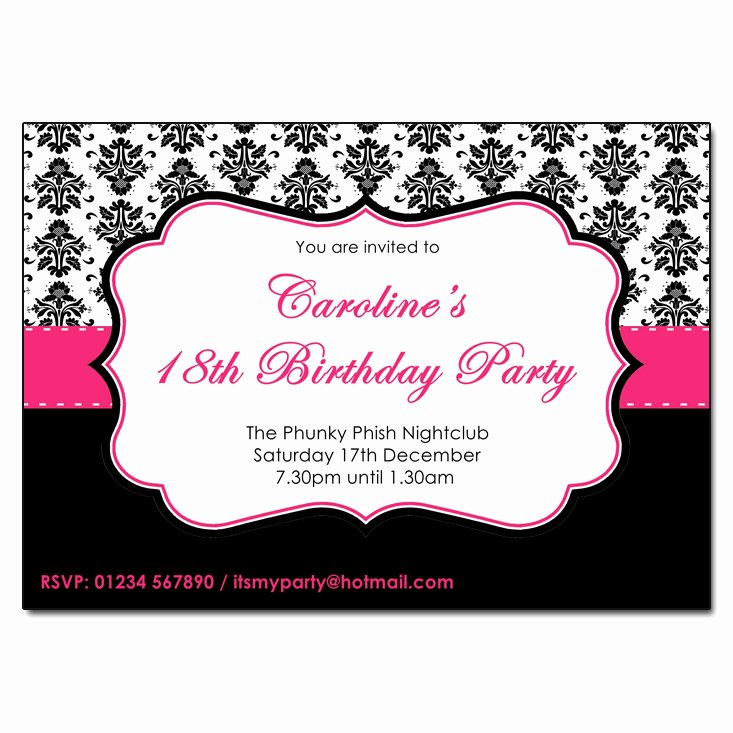 Black and White Birthday Invitations Inspirational Pink Black & White Damask Party Invitations
