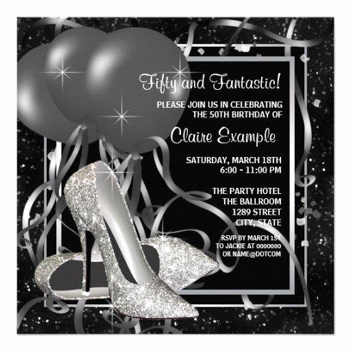 Black and White Birthday Invitations Luxury Black and White High Heels Womans Birthday Party 5 25x5 25 Square Paper Invitation Card