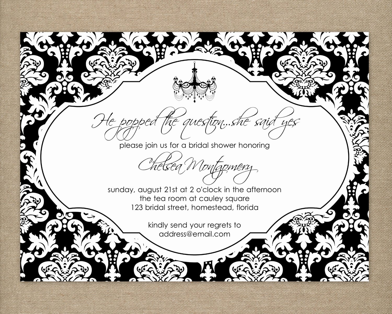 Black and White Birthday Invitations Luxury Bridal Shower Invitation Elegant Bridal by thepaperblossomshop