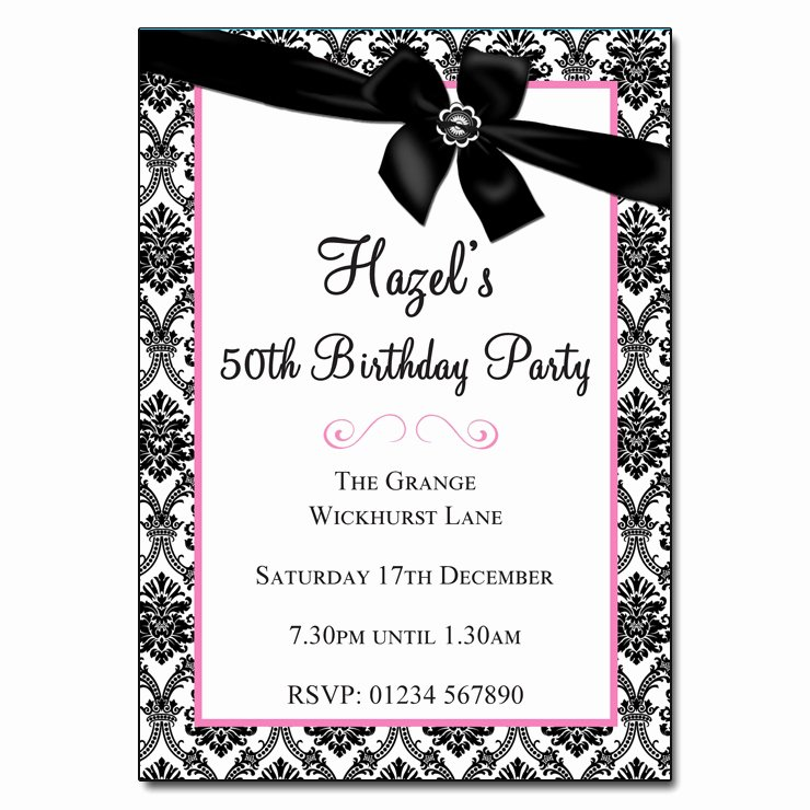 Black and White Birthday Invitations New Black & White with Ribbon Damask & Vintage Party Invitations