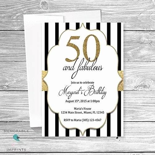 Black and White Birthday Invitations Unique Amazon 50th Birthday Invitations 50 and Fabulous Invitations Gold Black and White