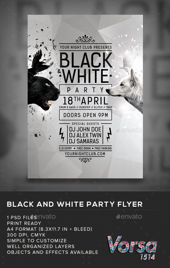 Black and White Flyer Beautiful Black & White Party Flyer My Posters