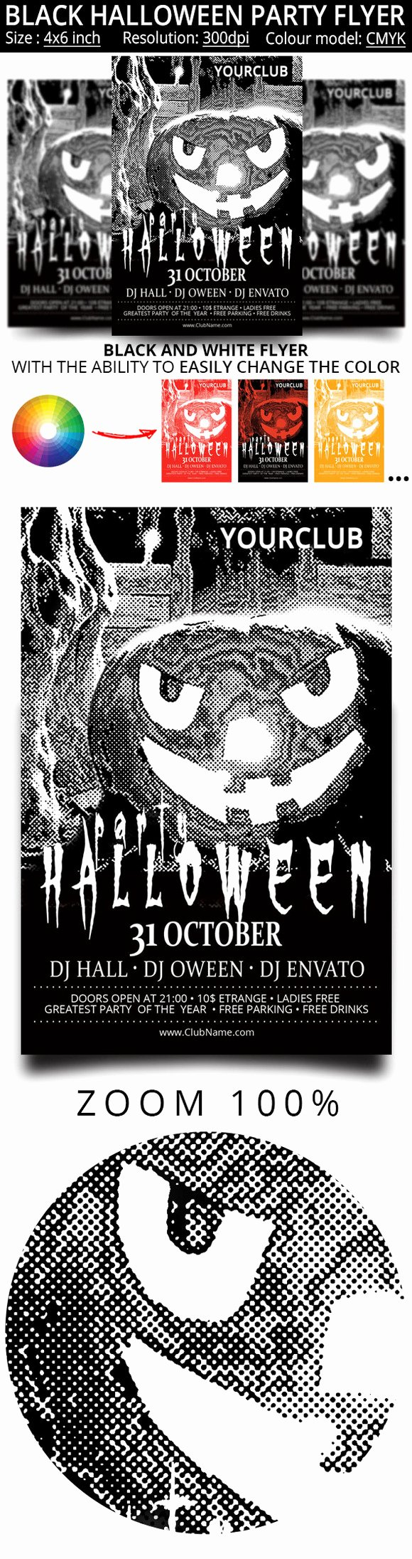 Black and White Flyer Fresh Black and White Flyer for the Hallow Flyer Templates On