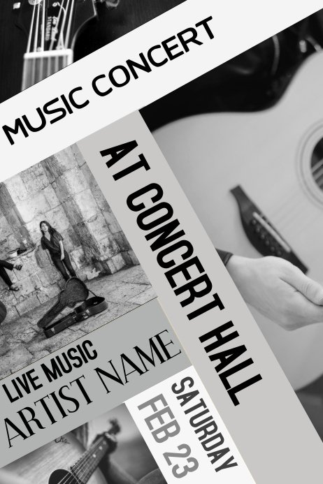 Black and White Flyer Lovely Copy Of Black and White Music Guitar Concert Flyer