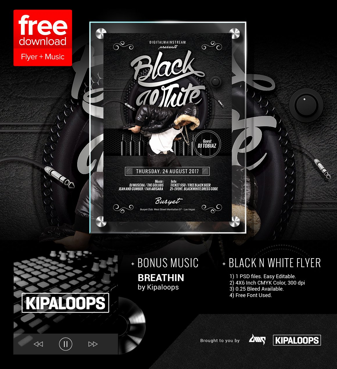 Black and White Flyer Luxury Free Black and White Club Flyer Template Music by