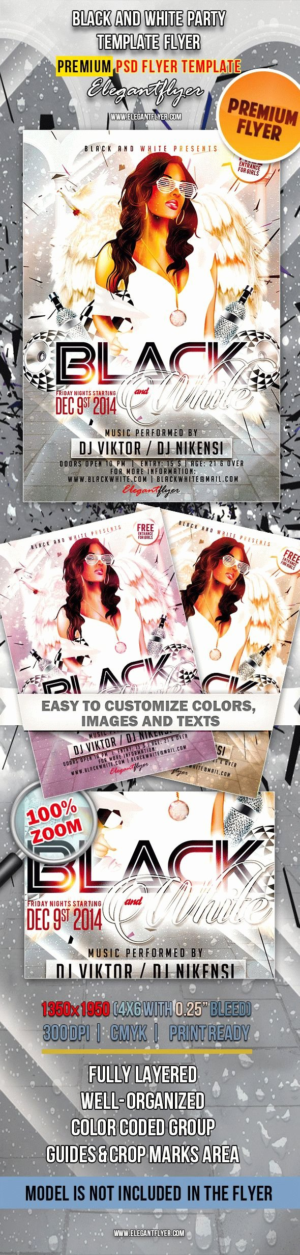 Black and White Flyer Templates Awesome Black and White Party Flyer In Psd – by Elegantflyer