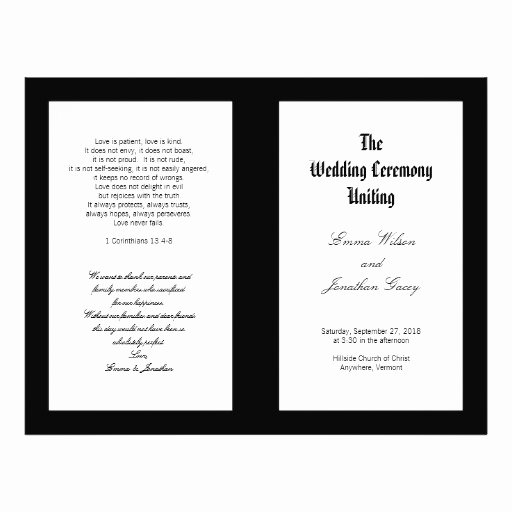 Black and White Flyer Templates Beautiful Black and White Folded Wedding Ceremony Template Flyer