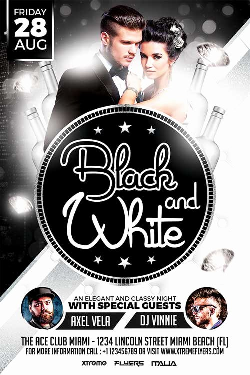 Black and White Flyer Templates Beautiful Black and White Party Flyer Template Xtremeflyers