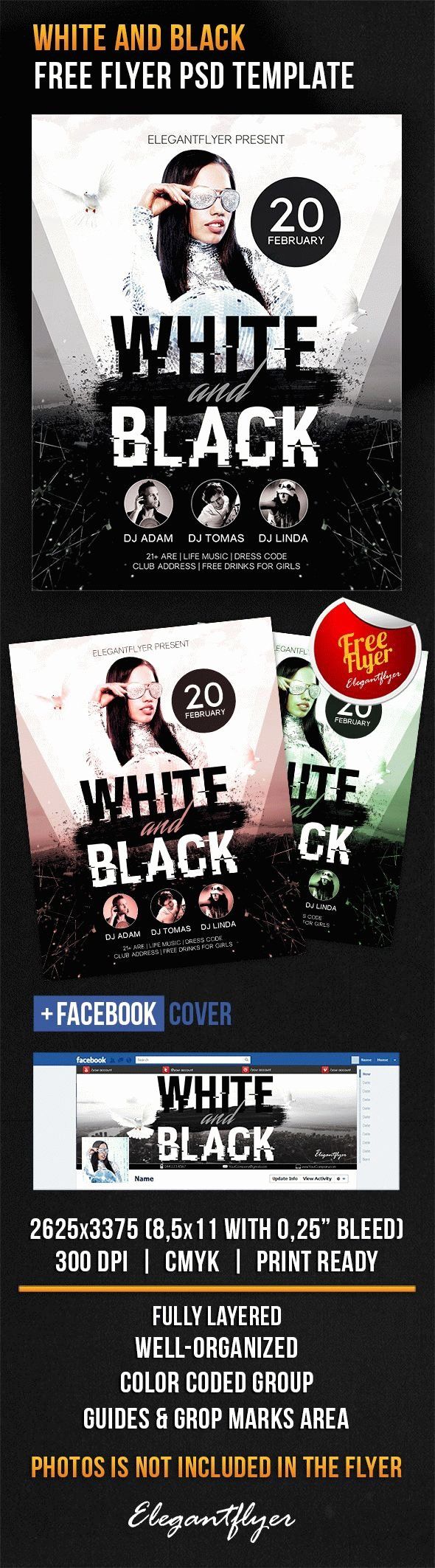 Black and White Flyer Templates Best Of White and Black – Free Flyer Psd Template – by Elegantflyer