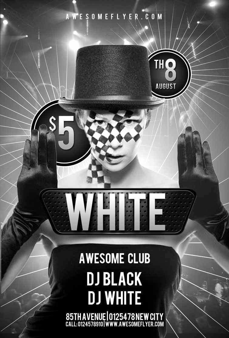 Black and White Flyer Templates Elegant Black and White Party Flyer Template