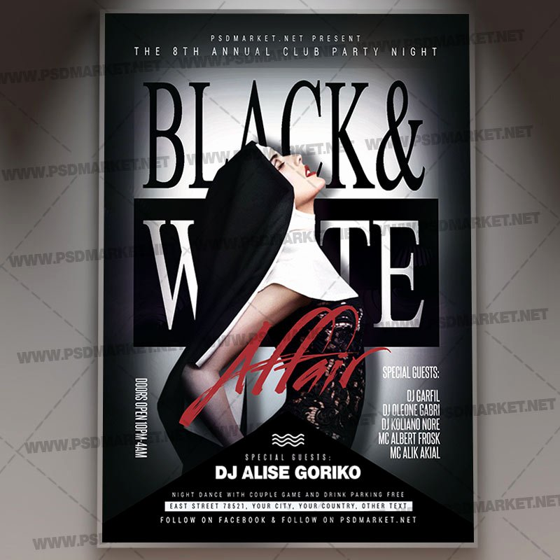 Black and White Flyer Templates Elegant Download Black and White Flyer Psd Template
