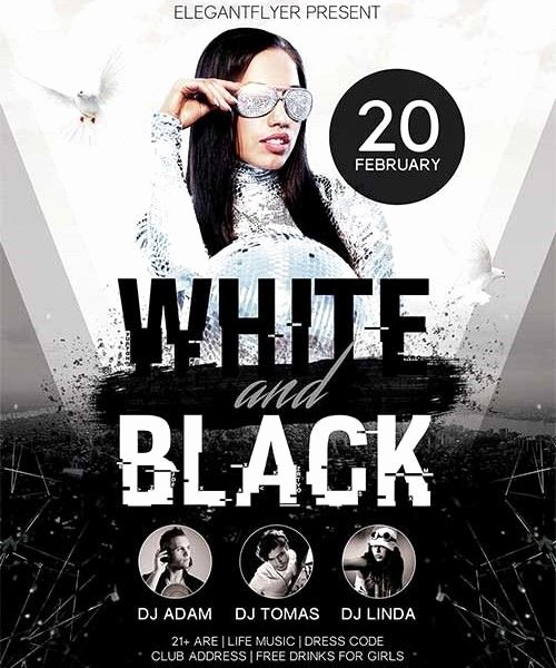Black and White Flyer Templates Fresh White and Black Party Free Psd Flyer Template Shop