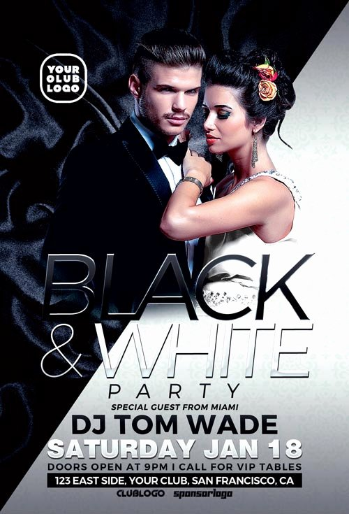 Black and White Flyer Templates Luxury Black and White Party Flyer Template Download Psd Flyer for Shop