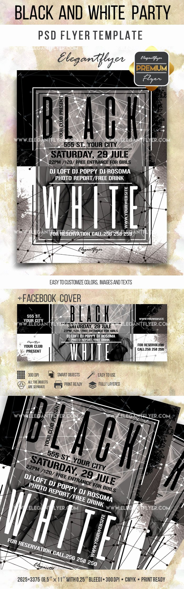 Black and White Flyer Templates New Flyer Template for Black and White theme Party – by Elegantflyer