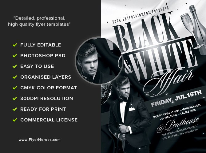 Black and White Flyer Templates Unique Black and White Flyer Template Flyerheroes