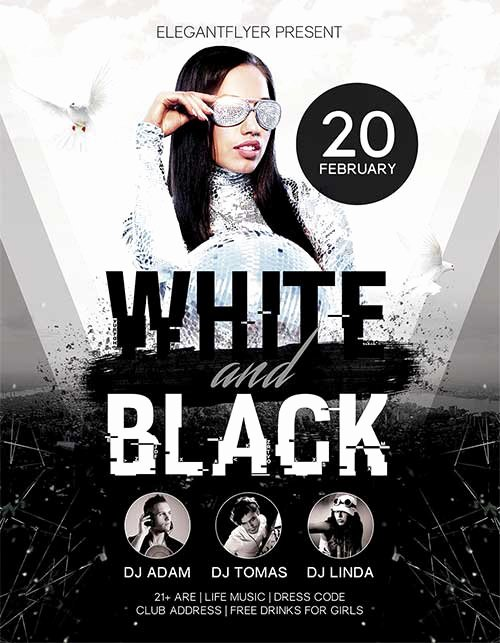 Black and White Flyer Unique Download White and Black Party Free Psd Flyer Template for
