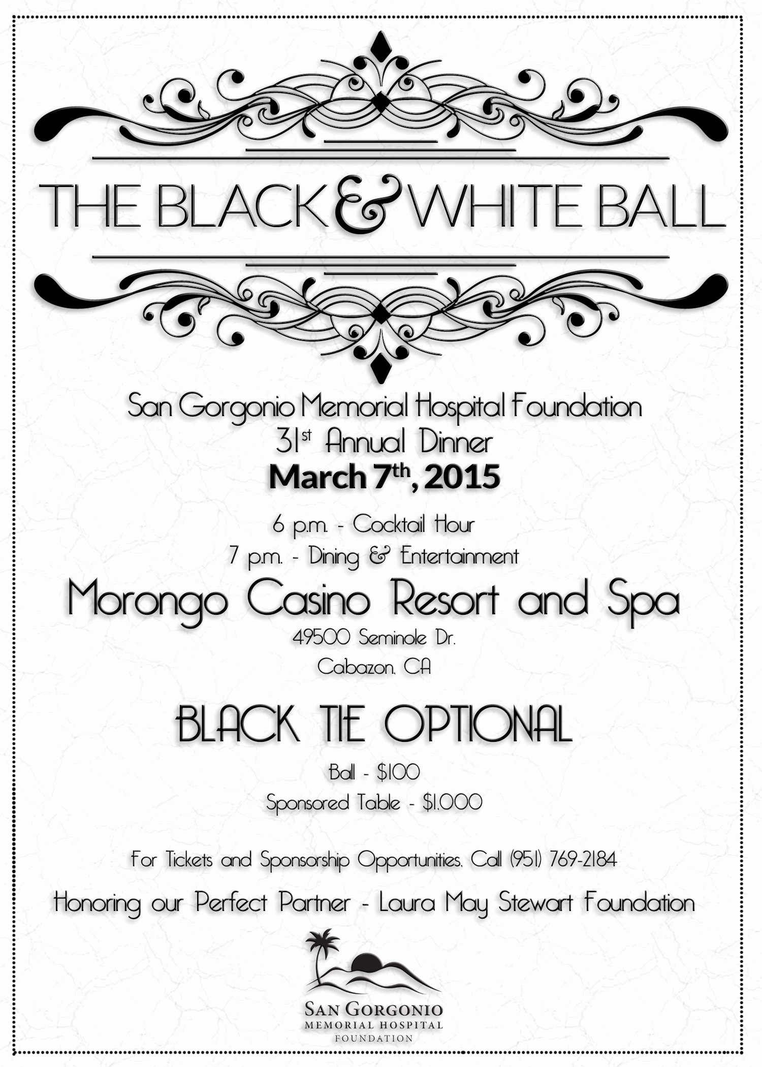 Black and White Flyer Unique Reserve Your Tickets for Sgmh Foundation's Annual Gala