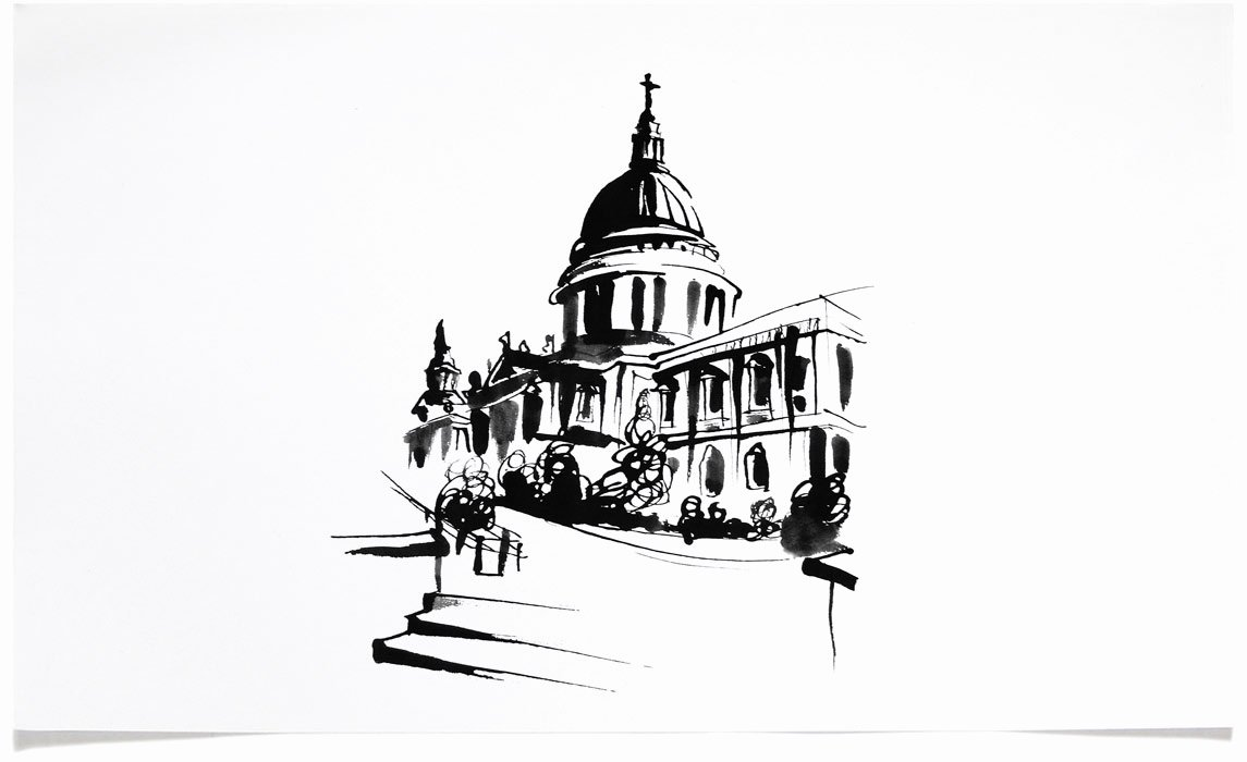Black and White Illustration Beautiful Architecture Illustrations Eri Griffin