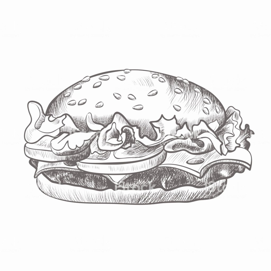 Black and White Illustration Beautiful Burger Black and White Realistic Sketch isolated Illustration Stock Vector Art & More Of