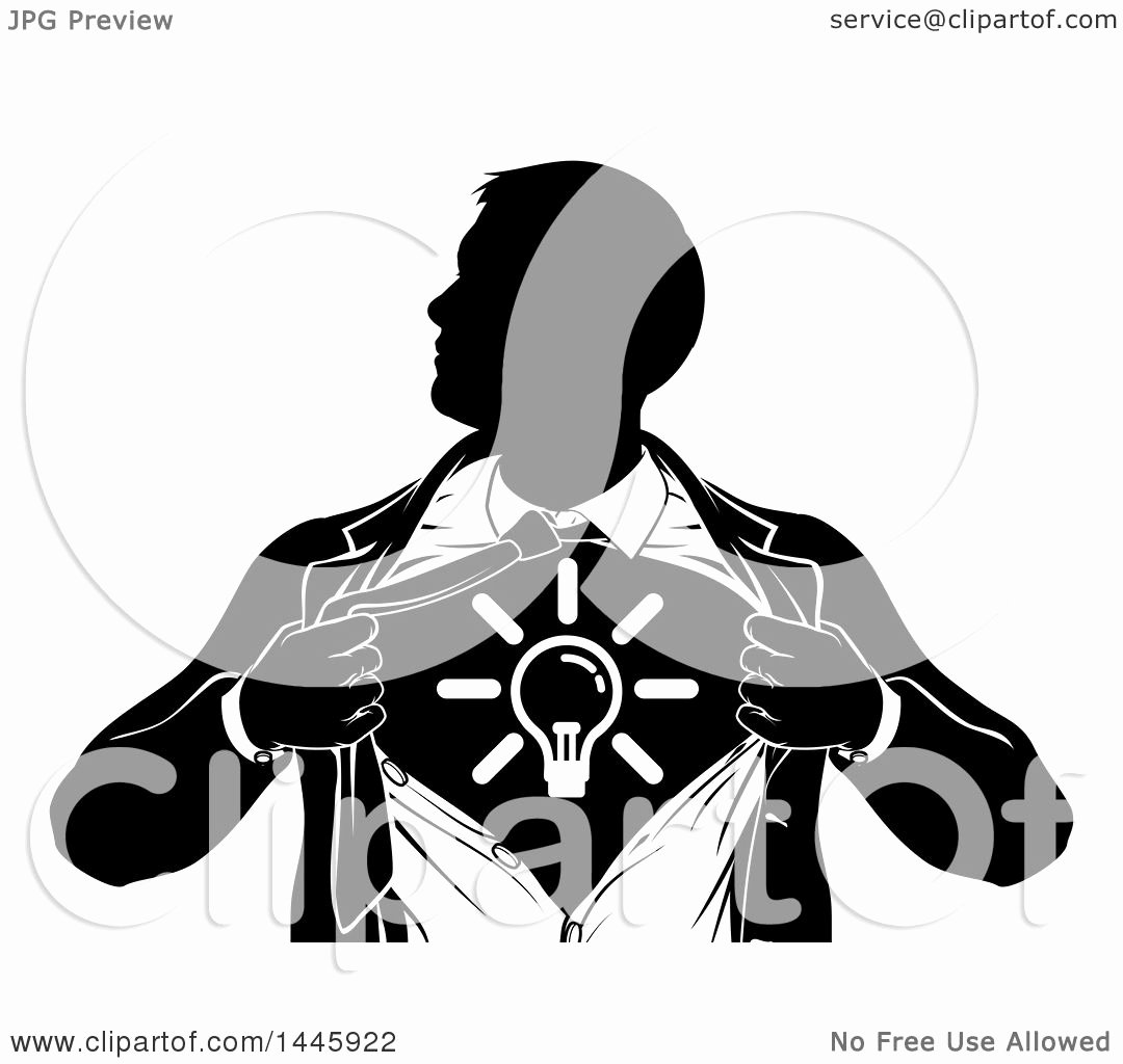Black and White Illustration Best Of Clipart Of A Black and White Silhouetted Creative Super Hero Business Man Ripping His Shirt Open