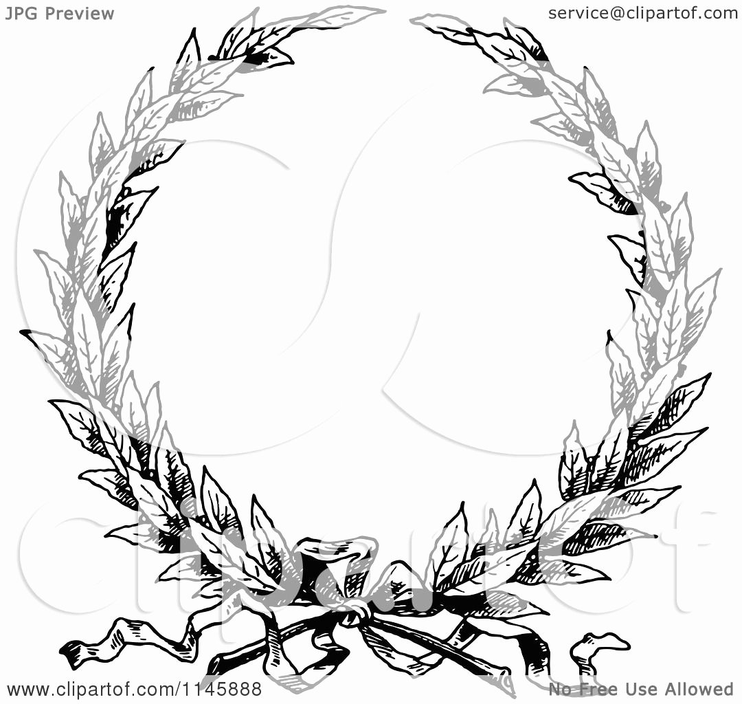 Black and White Illustration Fresh Clipart Of A Retro Vintage Black and White Wreath Royalty Free Vector Illustration by Prawny