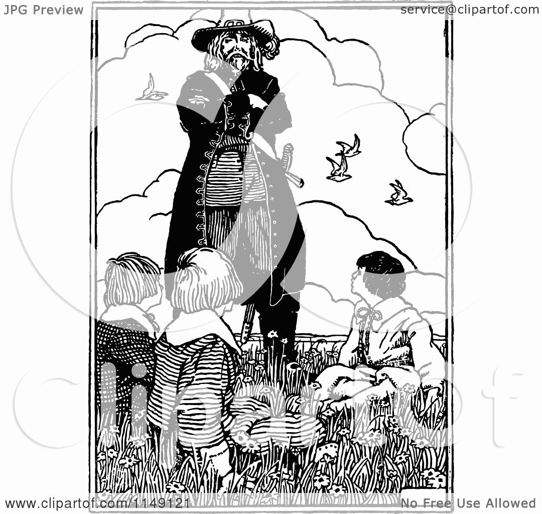 Black and White Illustration Lovely Clipart Of A Retro Vintage Black and White Pirate Looking Down at Boys Royalty Free Vector