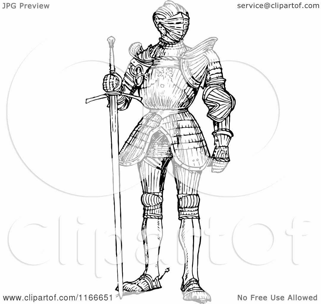 Black and White Illustration Lovely Clipart Of A Retro Vintage Black and White Suit Of Armour Royalty Free Vector Illustration by