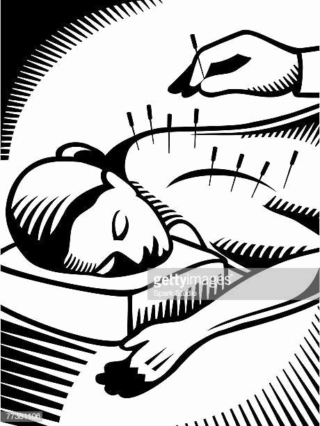 Black and White Illustration Unique Acupuncture Stock Illustrations and Cartoons