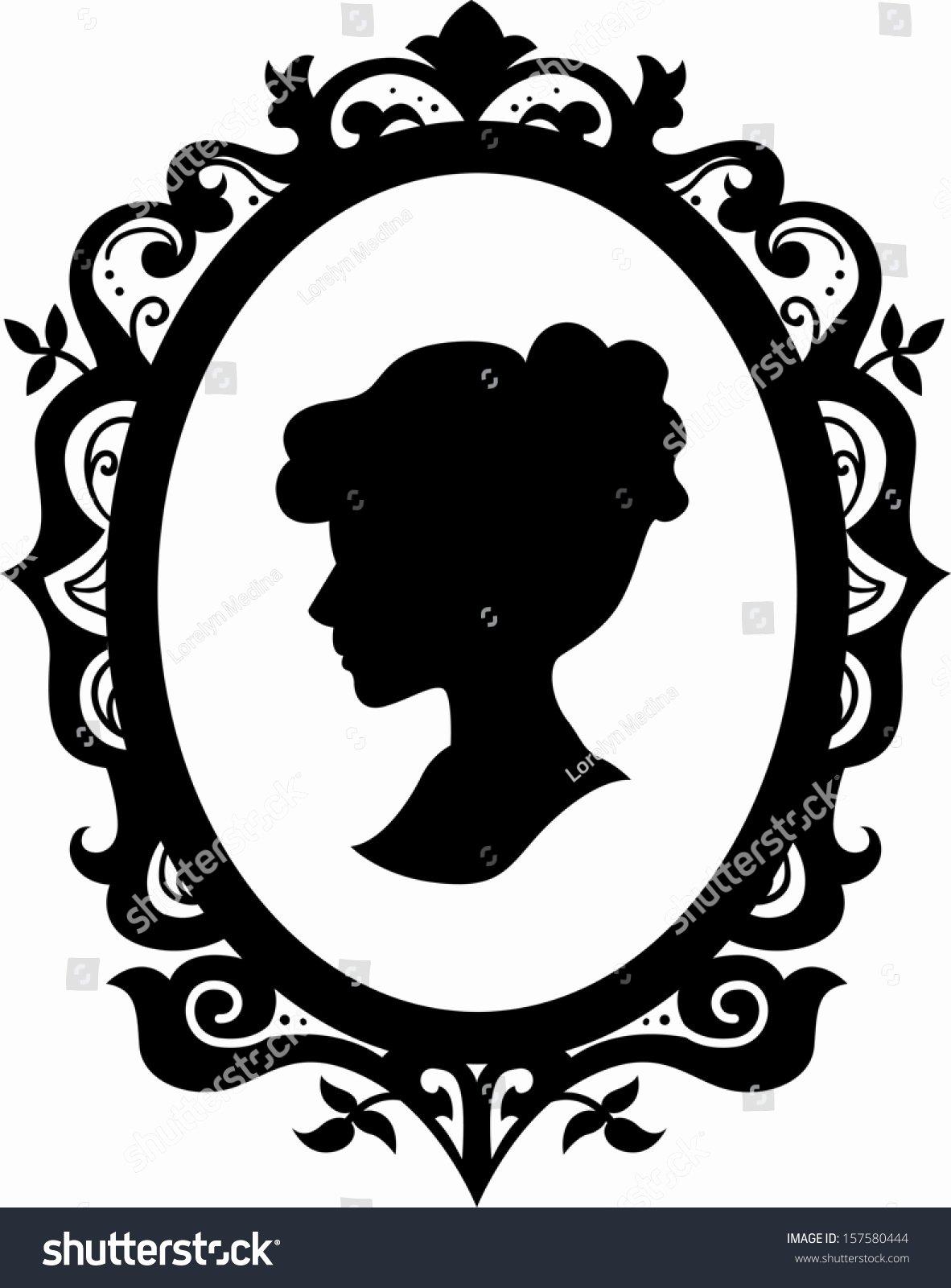 Black and White Illustration Unique Black White Illustration Cameo Featuring Silhouette Stock Vector Shutterstock