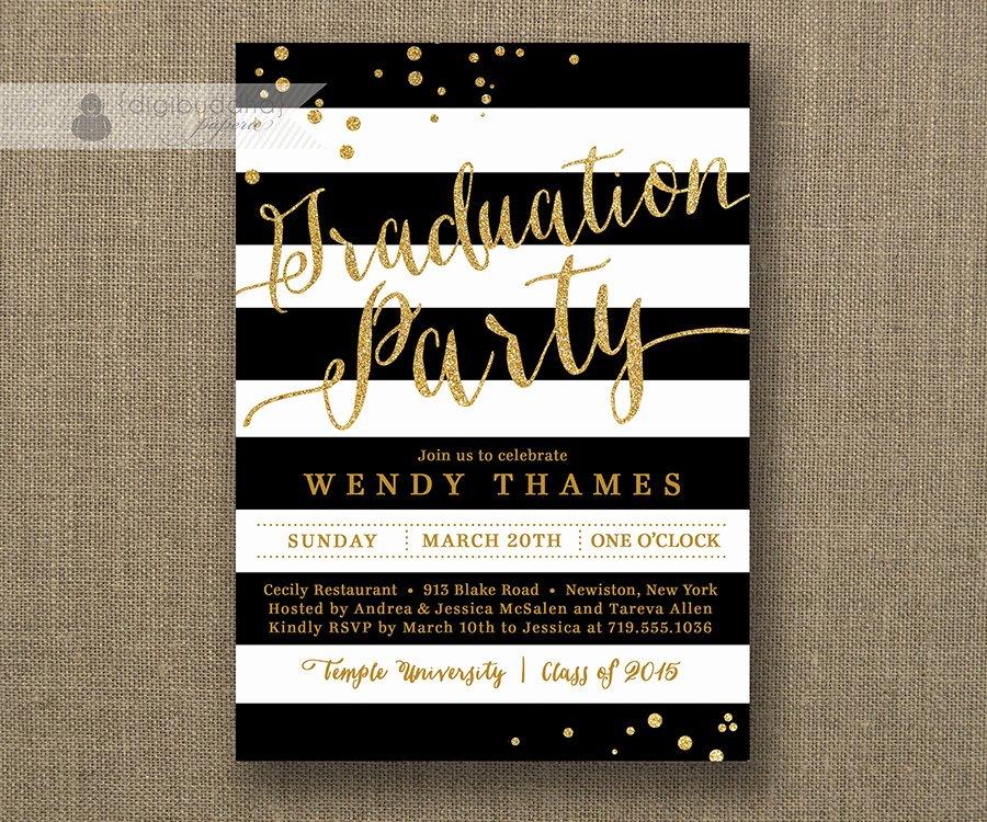 Black and White Invitation Beautiful Gold & Black and White Graduation Party Invitation Glitter