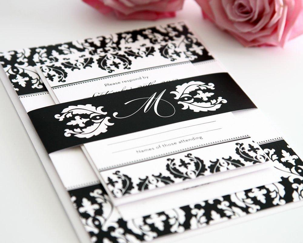 Black and White Invitation Elegant Black and White Damask Wedding Invitations – Wedding Invitations