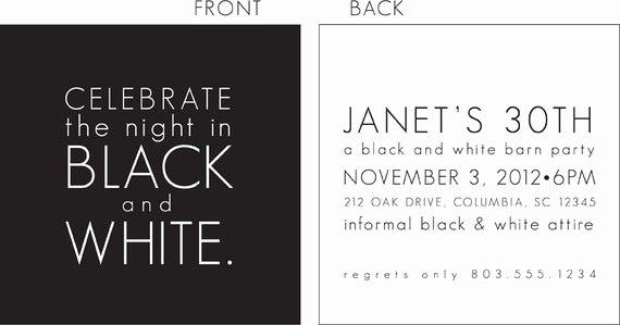 Black and White Invitation Fresh Black and White Party Invitation