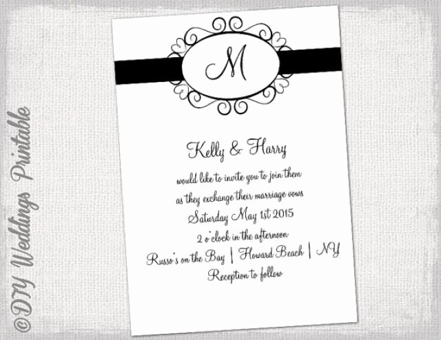 "Black and White Invitation Template Awesome Wedding Invitation Template Black and White ""hearts Monogram"" Invitations You Edit Printable"