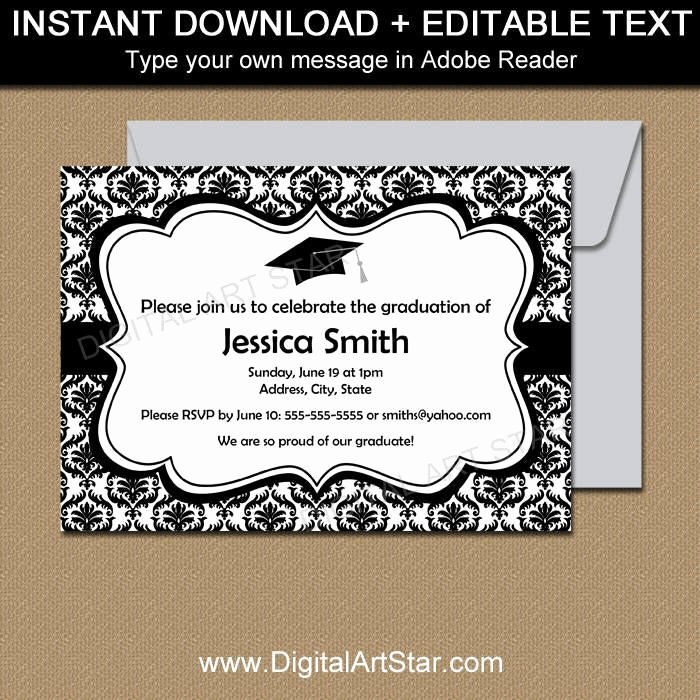 Black and White Invitation Template Beautiful Black and White Graduation Invitation Template Black and