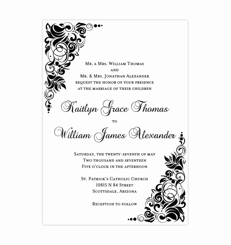 Black and White Invitation Template Best Of Gianna Wedding Invitation Black White Wedding Template Shop