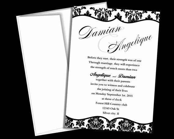 Black and White Invitation Template Elegant Wedding Invitation Template Black and White Damask Blank Wedding Invitation Diy Instant