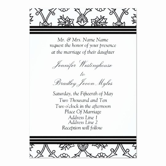 Black and White Invitation Template Fresh Template Black and White Wedding Invitation